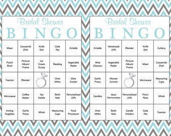 60 bridal bingo cards blank 60 prefilled cards printable bridal shower game download bridal shower games aqua gray chevron br002