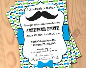 Mustache baby shower invitation etsy custom baby shower invitations little man mustache bowtie invites baby boy personalized blue green moustache theme b063 filmwisefo