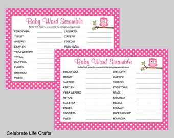 Baby Shower Word Scramble Game - Printable Baby Shower Games - Pink Polka Owl Baby Shower Theme - Baby Girl - B2003 - Answer Key Included