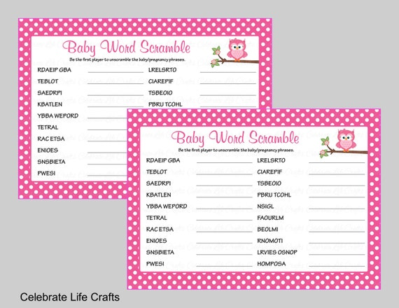 Baby Shower Word Scramble Game Printable Baby Shower Games Etsy