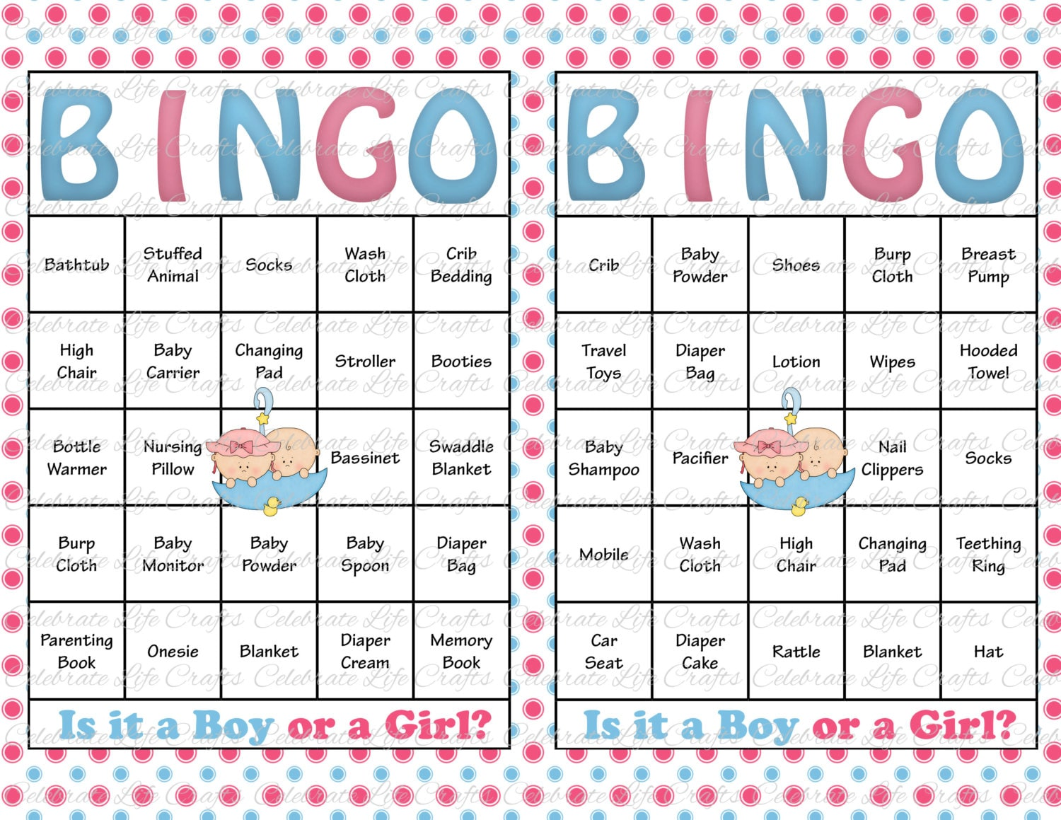 60 Baby Shower Bingo Cards Printable Party Gender Reveal Etsy