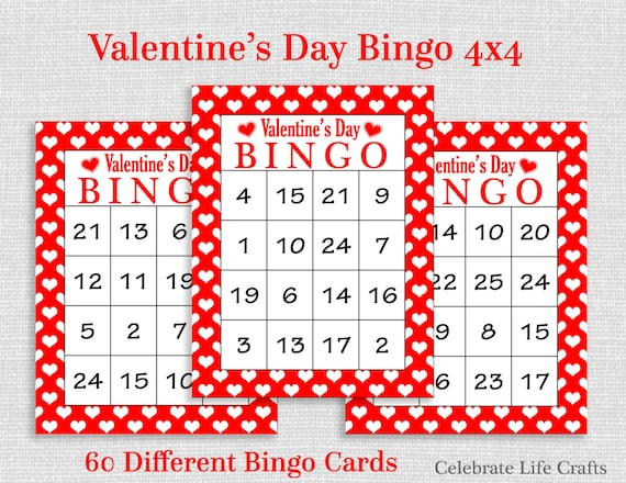 picture about Printable Valentine Bingo Card referred to as Valentine Bingo Activity - 60 Printable Valentines Bingo Playing cards - Totally free Valentine Like Bag Toppers - Figures 1-25 - Valentine Sport