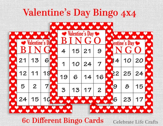 photograph regarding Free Printable Bingo Cards With Numbers named Valentine Bingo Recreation - 60 Printable Valentines Bingo Playing cards
