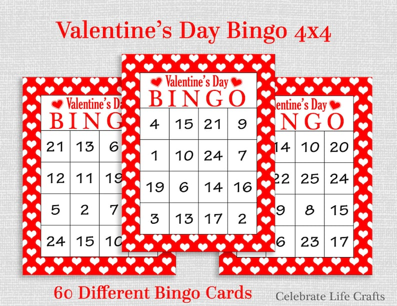 image regarding Valentines Bingo Printable called Valentine Bingo Video game - 60 Printable Valentines Bingo Playing cards - No cost Valentine Want Bag Toppers - Quantities 1-25 - Valentine Video game