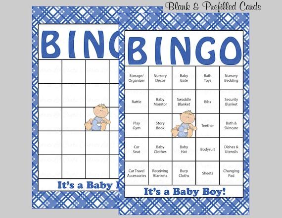 60 Baby Shower Bingo Cards 60 Prefilled Bingo Cards Boy Etsy