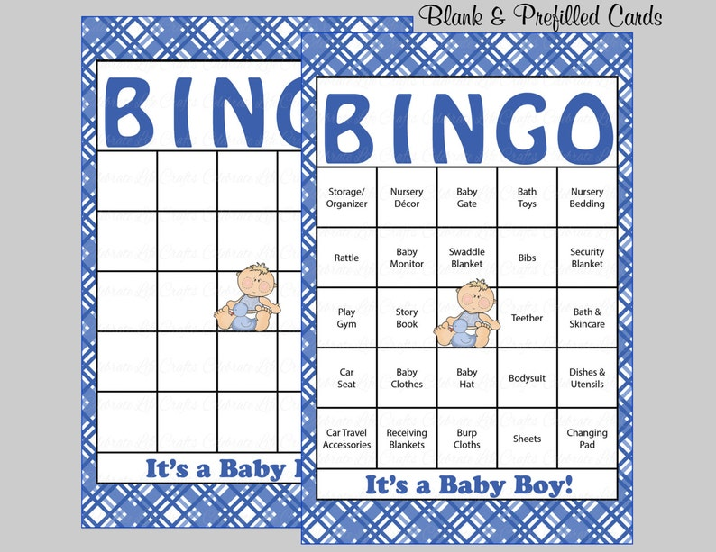 graphic relating to Free Printable Baby Shower Bingo Cards for 30 People titled 60 Child Shower Bingo Playing cards - 60 Prefilled Bingo Playing cards - Boy Child Shower Video game - Blue Plaid - Printable Obtain - B4001