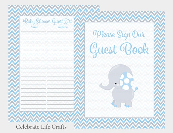 Baby Shower Guest Book Sign And Guest List Printable Guest Book Set