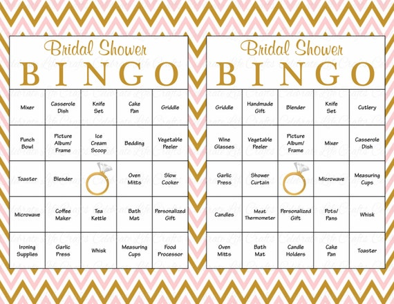 60 Bridal Bingo Cards Blank Prefilled Printable