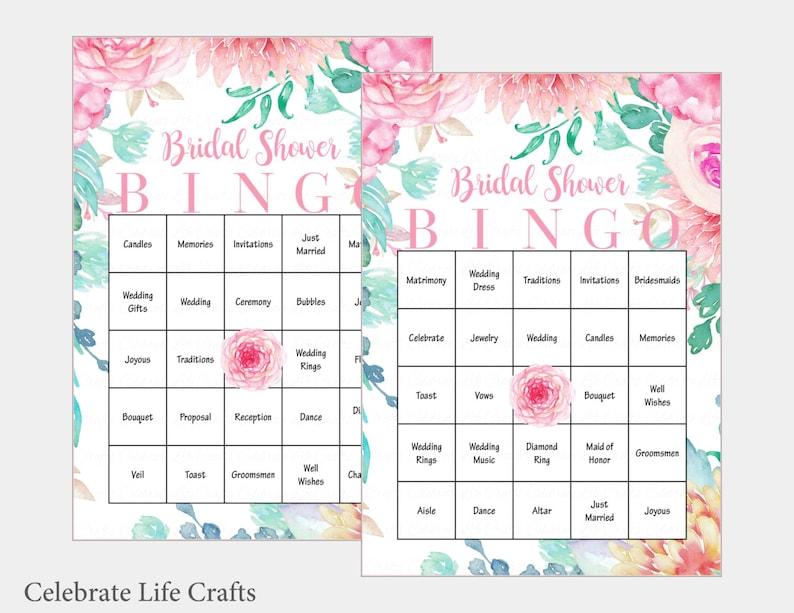 30 Bridal Bingo Cards Floral Bridal Shower Bingo Game Etsy