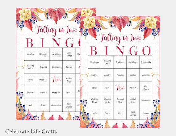 photograph regarding Fall Bingo Printable identify 60 Slipping inside Delight in Marriage ceremony Bingo Playing cards - Slide Bridal Shower