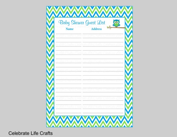 Baby Shower Guest List Printable Sign in Sheet with Address | Etsy
