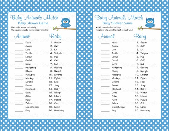 photo about Printable Baby Shower Games With Answer Key named Child Pets Video game Match with Resolution Primary - Printable Child Shower Sport - Little one Boy Owl Kid Shower Topic - Blue Polka Dots B2011