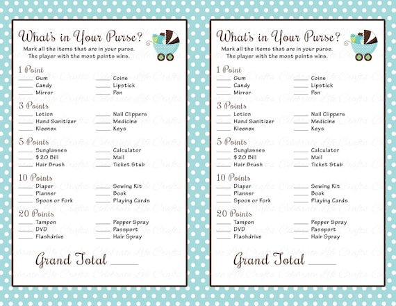 image about What's in Your Purse Printable referred to as Little one Shower Whats inside of Your Purse Activity - Printable Little one