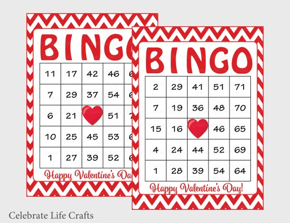 photograph about Printable Valentine Bingo Card called 60 Valentines Bingo Playing cards - Printable Valentine Bingo Playing cards