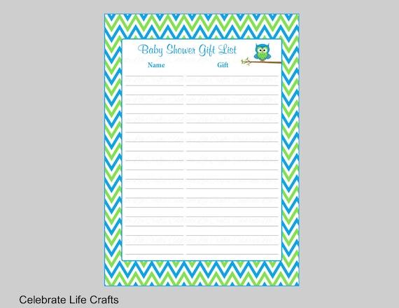 Owl Baby Shower Gift List Printable Gift Record Sheet For Etsy