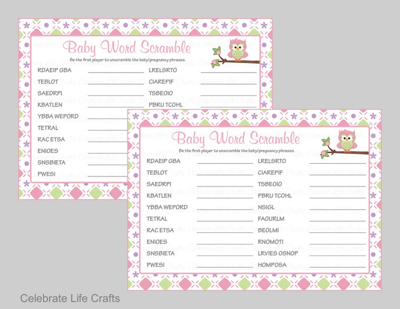 image regarding Free Printable Baby Shower Games Word Scramble With Answer Key titled Boy or girl Shower Phrase Scramble Video game Resolution Most important - Printable Child Shower Video games - Youngster Woman Shower - Purple Eco-friendly Owl Boy or girl Shower Topic - B2010