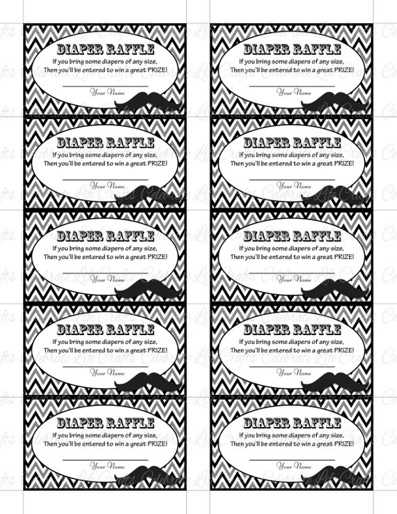 image about Printable Diaper named Printable Diaper Raffle Tickets Kid Shower - Fast Obtain - Black White Grey Mustache - Youngster Boy - B027