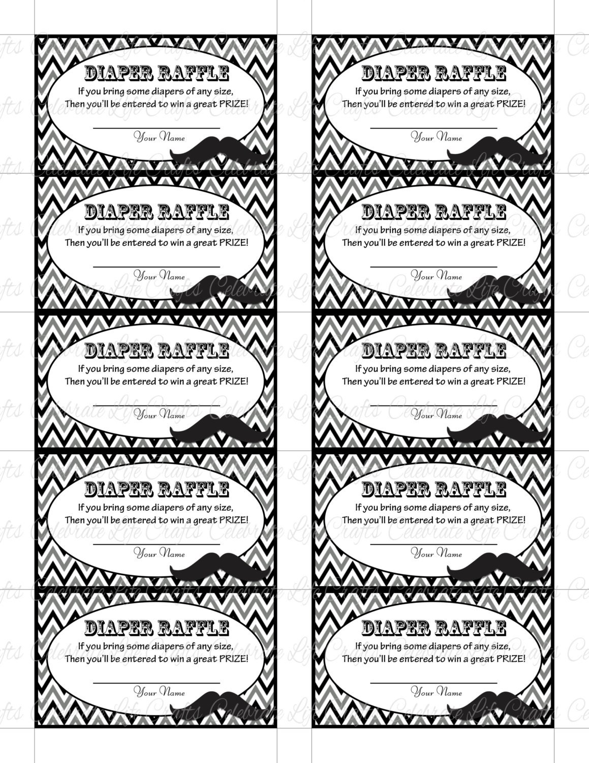 Versatile image inside diaper raffle tickets printable