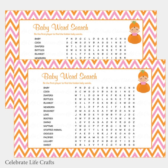 Baby Word Search Baby Shower Game With Answer Key Printable Baby