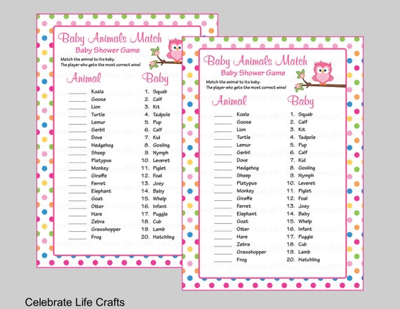 graphic relating to Printable Baby Shower Candy Bar Game With Answers identify Youngster Pets Recreation Video game with Option Primary - Printable Kid Shower Match - Little one Woman Owl Youngster Shower Concept - Rainbow Polka Dots B2009