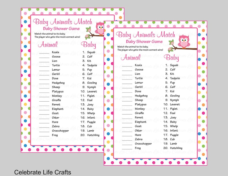 picture about 75 Printable Baby Shower Games With Answers named Child Pets Sport Video game with Resolution Magic formula - Printable Child Shower Sport - Little one Lady Owl Youngster Shower Concept - Rainbow Polka Dots B2009