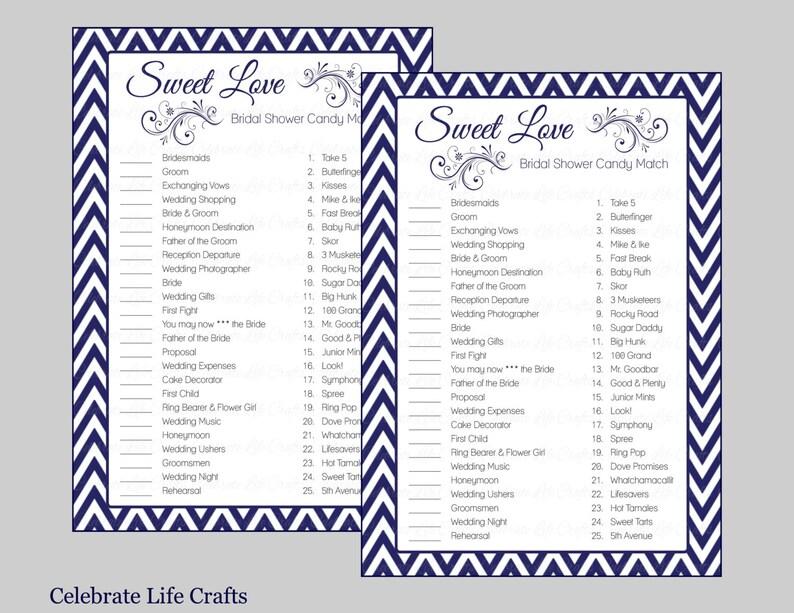 66a53fe9de0b4 Sweet Love Bridal Shower Game - Bridal Shower Candy Bar Match Game -  Instant Download - Navy Blue Chevron Bridal Games BR003