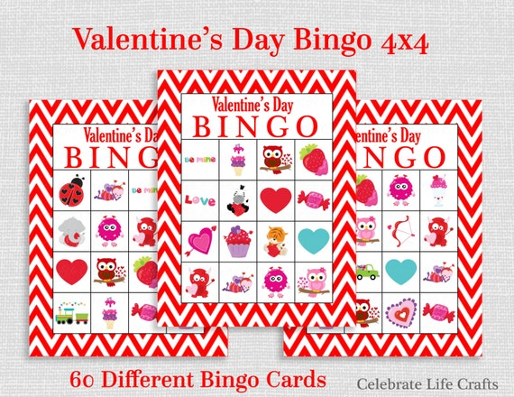 photograph regarding Printable Valentine Bingo Card identified as Valentine Bingo Recreation - 60 Printable Valentines Bingo Playing cards