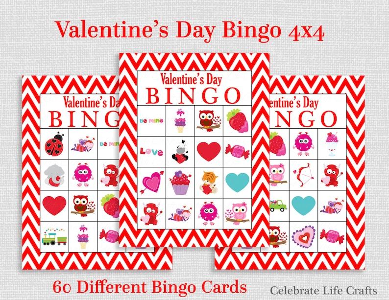 photograph regarding Printable Valentines Bingo Cards named Valentine Bingo Activity - 60 Printable Valentines Bingo Playing cards - No cost Valentine Prefer Bag Toppers - Instantaneous Down load - Small children Clroom Get together