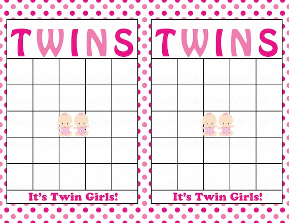 Blank Baby Shower Bingo Cards Printable Party Baby Girl Twins Instant Download Pink Polka Dot Twins Baby Shower Gift Bingo B25004