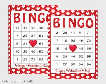 100 Valentine Bingo Cards - Printable Valentine Bingo Game - Instant Download - Valentine's Day Game for Kids, School, Class Parties V1005