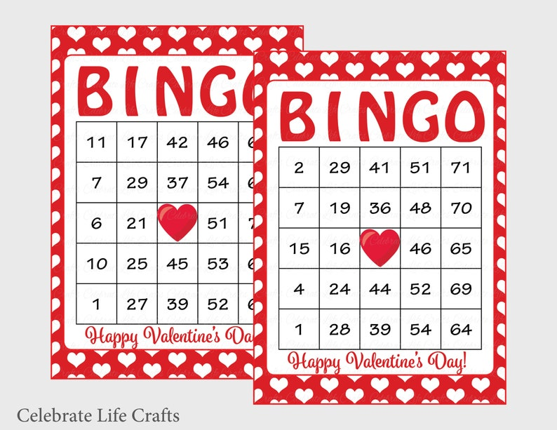 photograph about Printable Valentine Bingo identified as 100 Valentines Bingo Playing cards - Printable Valentine Bingo Playing cards - Prompt Obtain - Valentines Working day Sport for children - Pink White Hearts - V1005