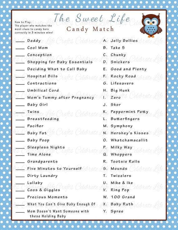 picture about Candy Bar Game Printable named Boy or girl Shower Lovable Lifestyle Sweet Bar Sport Recreation - Printable Boy or girl