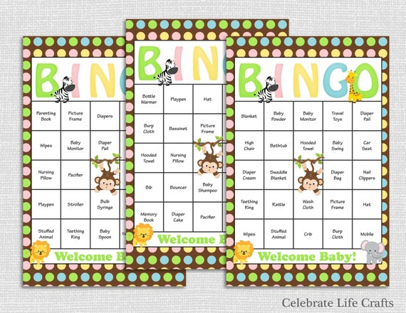 30 Safari Baby Shower Bingo Cards Printable Party Instant
