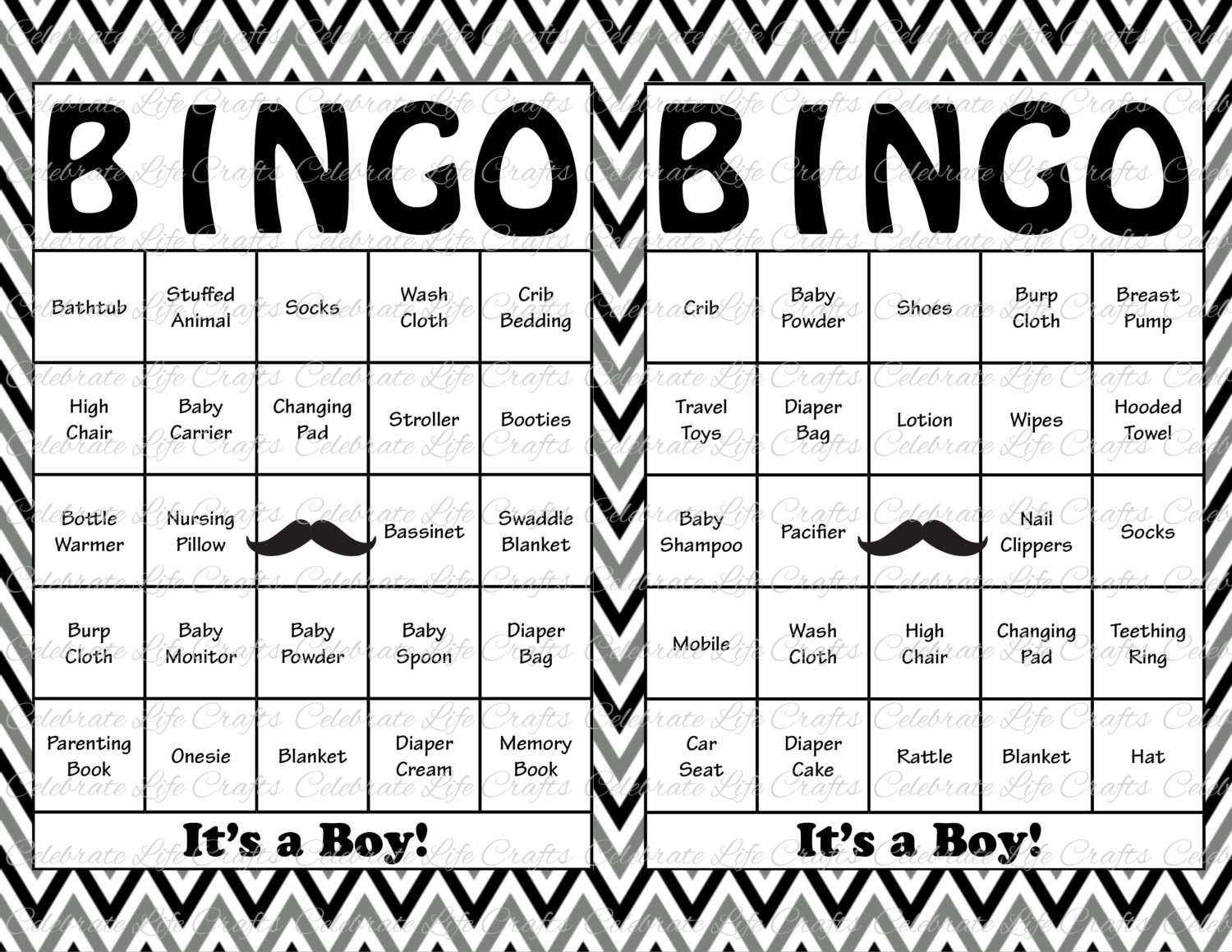 100 Baby Shower Bingo Cards Mustache Theme Printable | Etsy