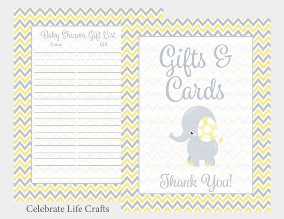 photo relating to Printable Baby Shower Gift List called Elephant Boy or girl Shower Reward Record and Present Desk Signal