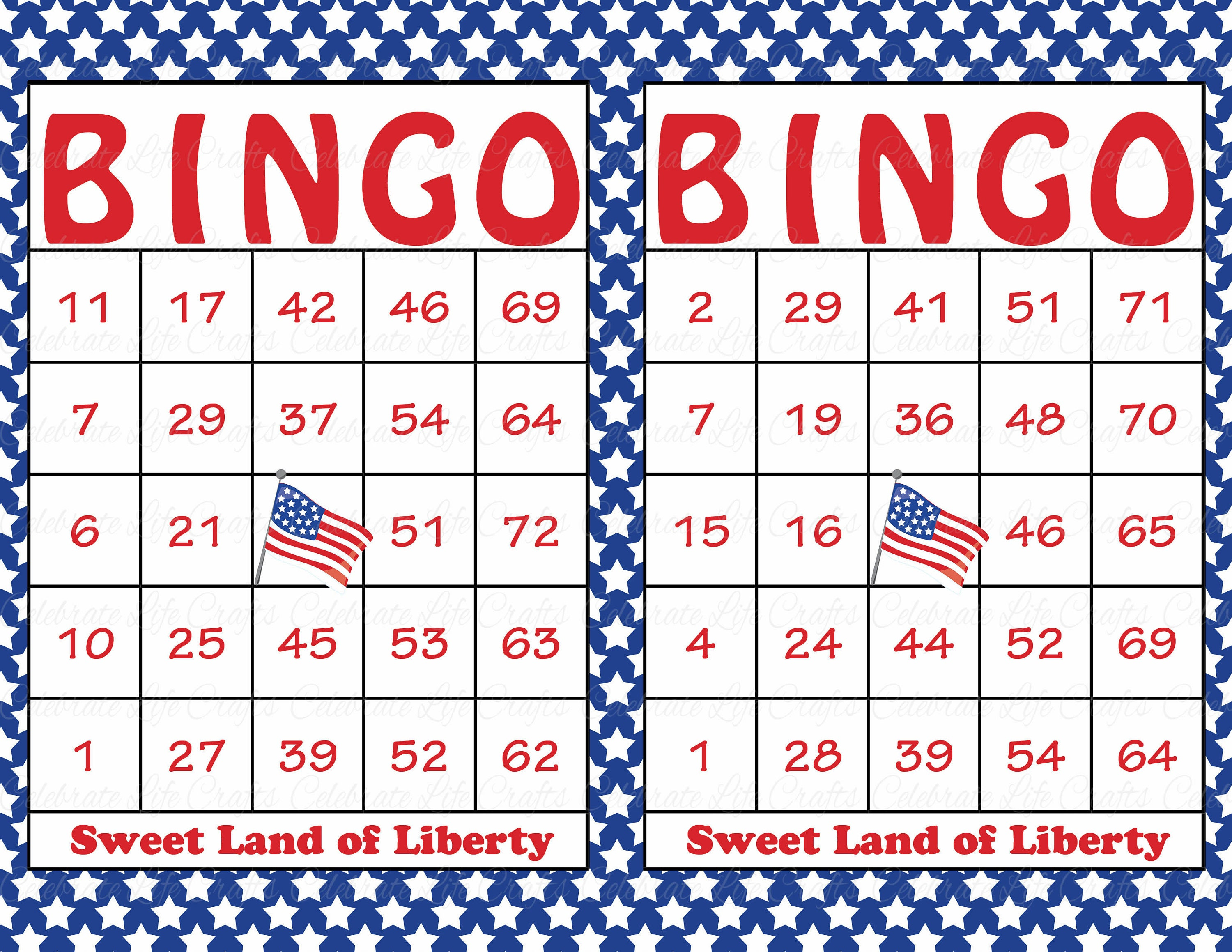 60 Printable Patriotic Bingo Cards Independence Day Party Etsy