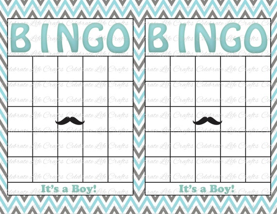Blank Baby Shower Bingo Cards Mustache Theme Printable Etsy