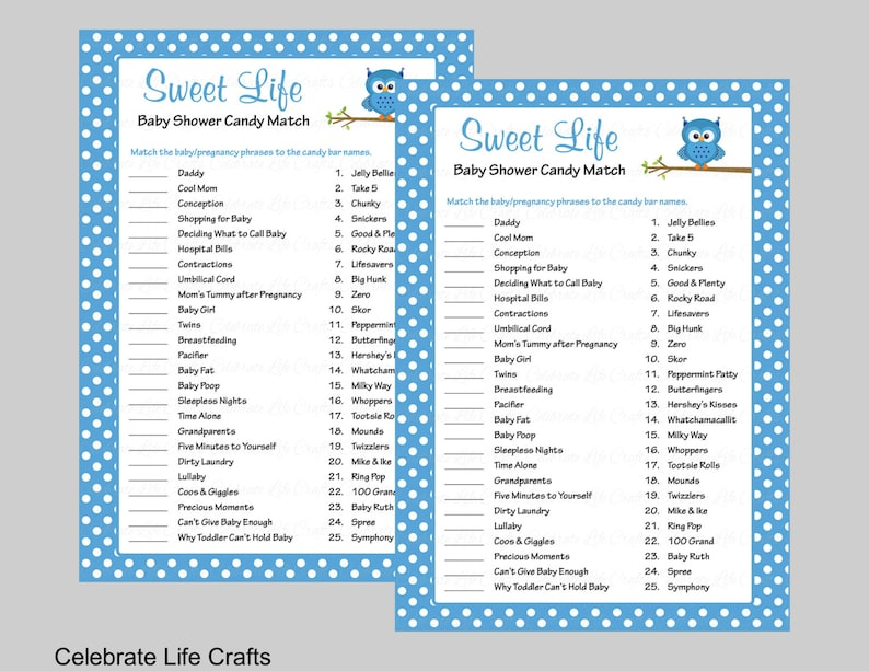 photo regarding 75 Printable Baby Shower Games With Answers referred to as Cute Daily life Kid Shower Activity with Solution Solution - Printable Sweet Bar Activity Boy or girl Shower Online games - Blue Polka Dots Owl Kid Concept B2011