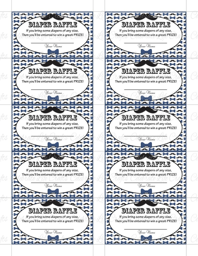 graphic relating to Free Printable Diaper Raffle Tickets Black and White named Printable Diaper Raffle Tickets Little one Shower - Fast Down load - Small Male Blue Black Mustache Bowtie Topic - Child Boy - B018