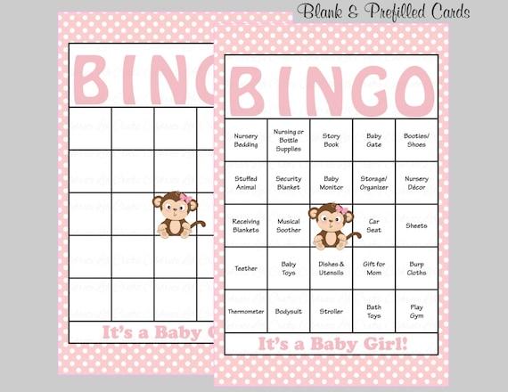 100 Monkey Baby Shower Bingo Cards Prefilled Bingo Card Girl
