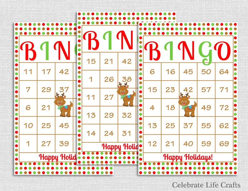 e301fb4a3ec 200 Rudolph Christmas Bingo Cards - DIY Printable Game for Christmas Party