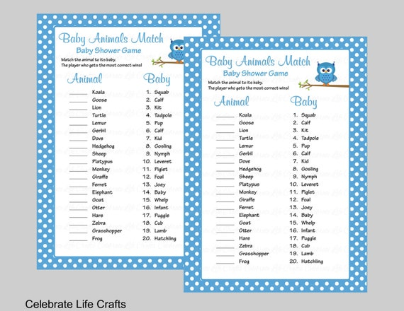 picture about Printable Baby Shower Games With Answers identified as Youngster Pets Activity Sport with Remedy Principal - Printable Boy or girl