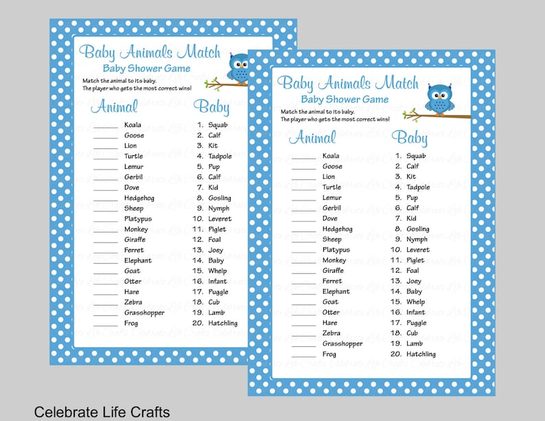 picture regarding 75 Printable Baby Shower Games With Answers titled Youngster Pets Game Match with Option Mystery - Printable Boy or girl Shower Match - Kid Boy Owl Boy or girl Shower Topic - Blue Polka Dots B2011