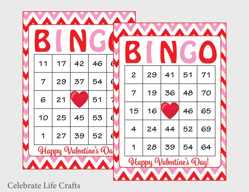 photograph about Valentine Day Bingo Cards Printable identify 60 Valentines Bingo Playing cards - Printable Valentine Bingo Playing cards - Prompt Down load - Valentines Working day Match for youngsters - Purple Crimson Chevrons - V1003