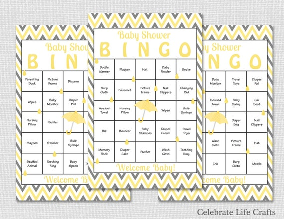 Printable Baby Shower Bingo Card Editable PDF Yellow Elephant Baby Shower Bingo Yellow Chevron Baby Shower