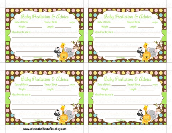 picture regarding Free Printable Advice Cards for Baby Shower referred to as Boy or girl Shower Prediction and Suggestions Playing cards Mommy - Printable Youngster Shower Video games - Jungle Pets Monkey Zebra Elephant Boy Lady - N019