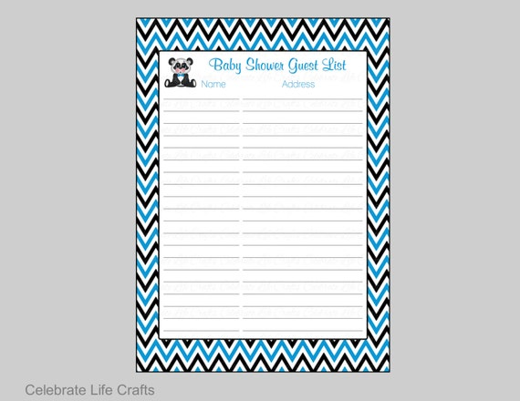 Panda Baby Shower Guest List Printable Baby Shower Sign In Etsy