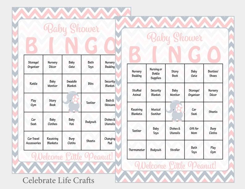 60 Printable Bingo Cards Instant Download 60 Elephant Baby Shower Bingo Cards Girl Baby Shower Game B3001 Pink Elephant Theme