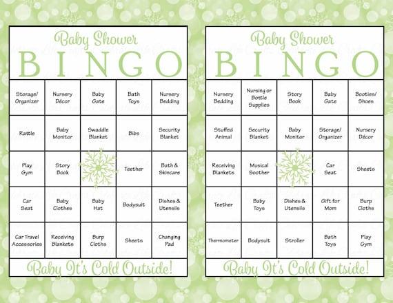 30 Winter Baby Shower Bingo Neutral Baby Shower Games Printable
