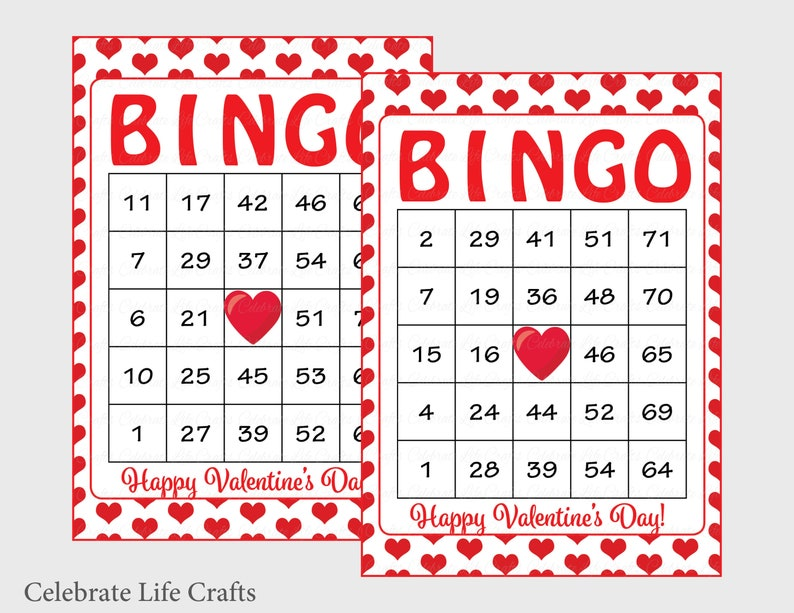 image regarding Printable Valentine Bingo Card called 30 Valentines Bingo Playing cards - Printable Valentine Bingo Playing cards - Instantaneous Down load - Valentines Working day Sport for little ones - Pink Hearts - V1002